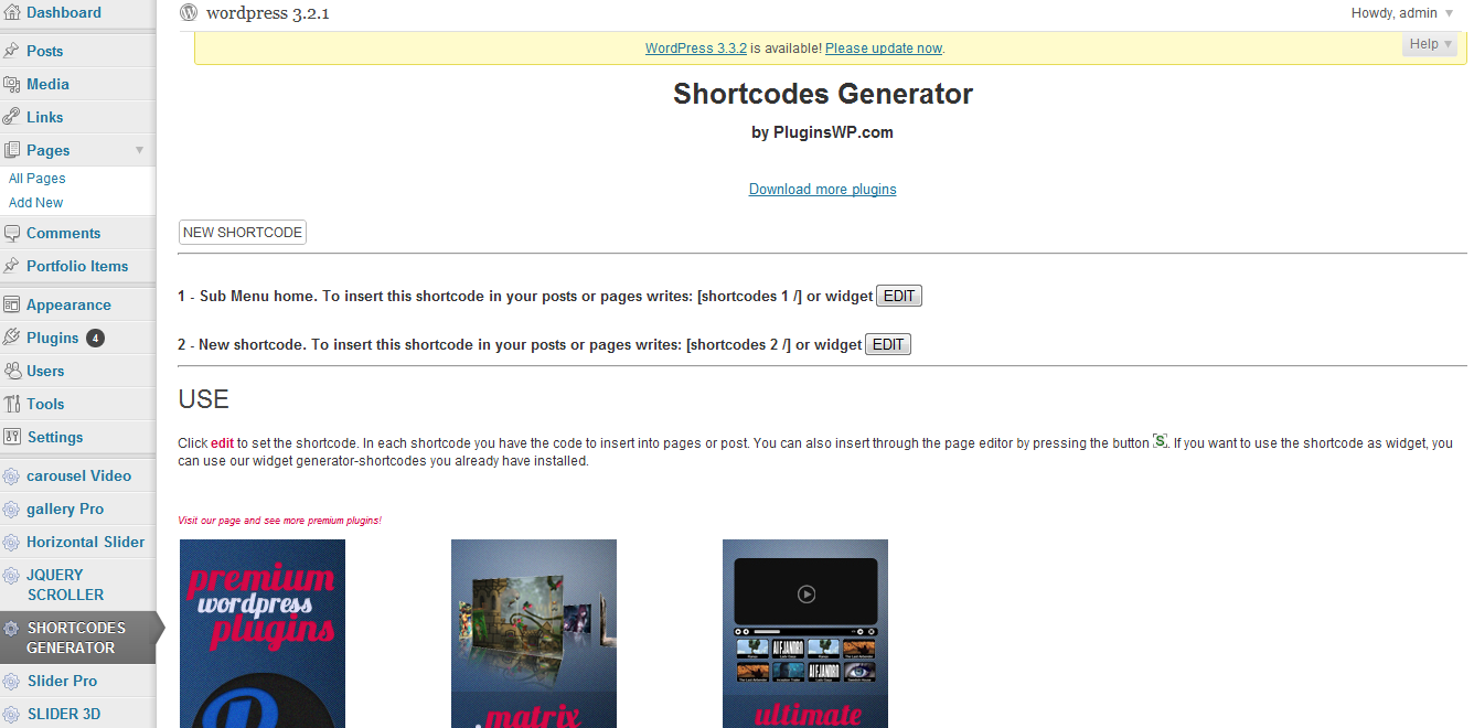 Settings For The Shortcode Generator